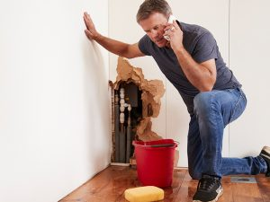 A man calling a licensed plumber to fix pipes.